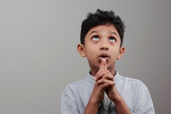 A boy looks up Stock Photo