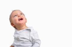 Boy looks up at white background Stock Image