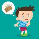 Boy lose money. Illustration of cartoon boy lose money Stock Photography