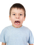Boy with a lost tooth grimacing Stock Images