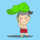 Boy with lotus leaf Stock Image