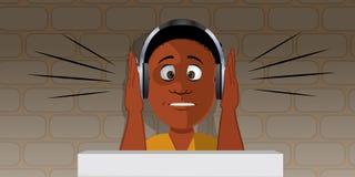 Boy with loud headphones Royalty Free Stock Photos