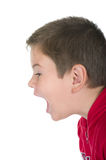 Boy loudly shouts. On a white background Stock Photos