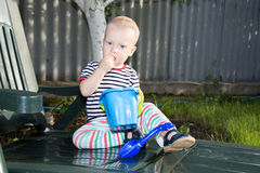Boy on lounge Royalty Free Stock Photography