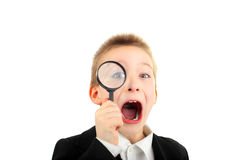 Boy with loupe Stock Photo