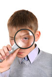 Boy with a Loupe Stock Photo