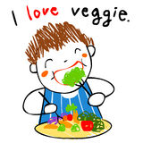 Boy love eating vegetable  illustration Royalty Free Stock Photography