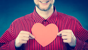 Boy in love with red heart. Stock Photography