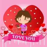 Boy Love for Valentine`s day. on happy valentine`s day and Love background design for valentine`s festival .Vector illustration.Ca. Rtoon style Royalty Free Stock Photography