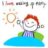 Boy love waking up early  illustration Stock Images