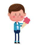 Boy loved giving bouquetflowers Royalty Free Stock Photography