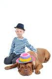 Boy is loving a dog. Nice Boy and a Big Dog Portrait Stock Photos