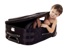Boy in the luggage Royalty Free Stock Photo