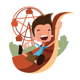 Boy at the luna park  illustration cartoon character Royalty Free Stock Image