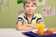 Boy and lunch Stock Image