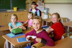 Boy with a lunchbox royalty free stock images
