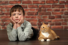 Boy lying on the floor with cat Royalty Free Stock Image