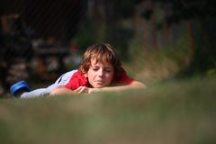 Boy lying Royalty Free Stock Images