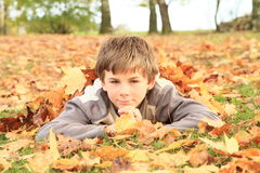 Boy lying in leaves Stock Photos