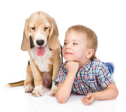 Boy is lying near a puppy. isolated on white background Royalty Free Stock Image