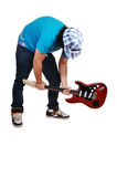Boy Mad At The Guitar. Royalty Free Stock Images