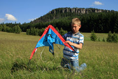 Boy made kite Stock Photography