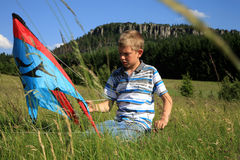 Boy made kite Royalty Free Stock Photo
