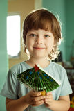 Boy made of paper christmas tree Royalty Free Stock Photography
