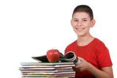 Boy with magazines Royalty Free Stock Photos