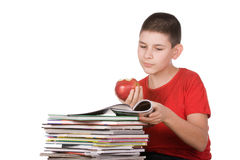 Boy with magazines. Boy reading a heap of magazines Royalty Free Stock Photography