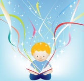 Boy magic book and stars. Vector character illustration of a child reading a magic book royalty free illustration
