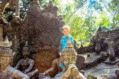 Boy in Magic garden on Koh Samui Royalty Free Stock Photography