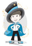 Vector Boy Magician in Blue Stock Photo