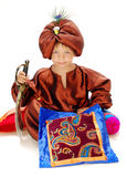 Boy magician. Boy in carnival costume Aladdin Stock Images