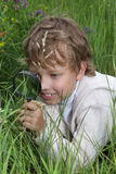 Boy with magnifying glass Royalty Free Stock Image