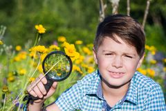 Boy with magnifying glass in summer garden Royalty Free Stock Image