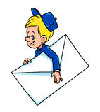 Boy mail  messenger cartoon Stock Photo