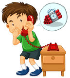 Boy make emergency call for bombing. Illustration Royalty Free Stock Photography
