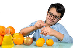 Boy Make the Experiments with Fruit. Stock Photos