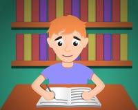 Boy make homework concept background, cartoon style royalty free illustration