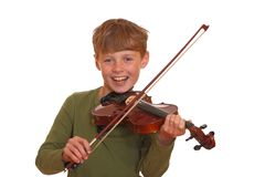 Boy makes music Royalty Free Stock Photo