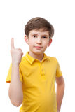 Boy making attention gesture with forefinger Royalty Free Stock Image