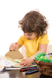 Boy making  Easter decorations Royalty Free Stock Image