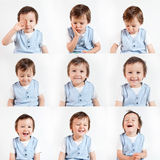 Boy, making funny faces on a white background Stock Images