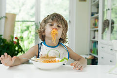 Boy making a mess Stock Photo