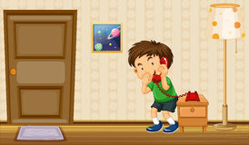 Boy making phone call at home. Illustration Royalty Free Stock Photo