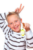Boy making rabbit ears Royalty Free Stock Photos