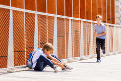 Boy making video or photo with digital camera outdoors Royalty Free Stock Photos