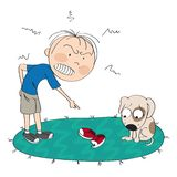 Boy or a man angry with his dog, pointing his finger at torn and chewed shoes, puppy is looking sorry for his bad behavior. Original hand drawn illustration royalty free illustration