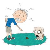 Boy or a man angry with his dog, pointing his finger at the poop on the carpet, puppy is looking sorry for his bad behavior. Original hand drawn illustration stock illustration